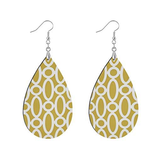 Fashion Teardrop Wooden Earrings Drop Dangle Earings Modern Oval Links Pattern Mustard And White Teardrop Earring Round Circle Earring For Women Girl (1Pair)