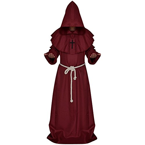 LETSQK Men's Friar Medieval Hooded Monk Priest Robe Tunic Halloween Cosplay Costume Red L