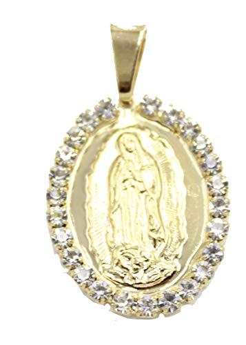 Diamantados de Florida Virgen de Guadalupe Medalla con circonita cúbica Bisel 18k Chapado en Oro Medalla con Cadena de 50,8 cm