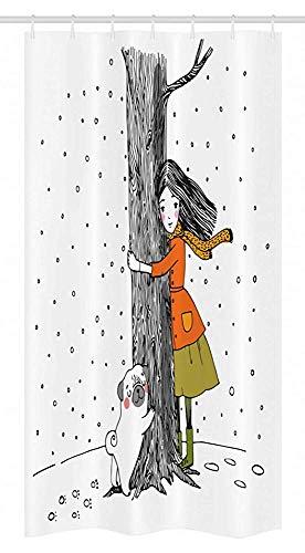 Wild One Curtain 36X72 Pollici,Tenda da Doccia per Box per Cani,Young Girlnd Pug Dog Holding Tree in The Snowy Weather Illustration,Tessuto Bagno Decor Set con 12 Ganci