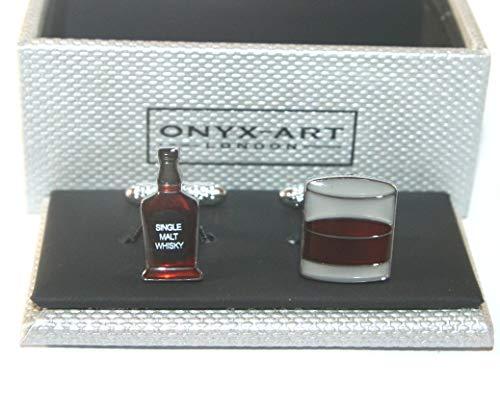 Onyx Art Novelty Heren Manchetknopen - Whisky Bottle + Glass Design *NIEUW* Boxed