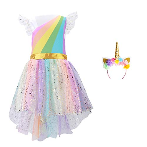 Girls Unicoen Costume Set Princess Rainbow Dress up for Party Supplies Outfits - http://coolthings.us