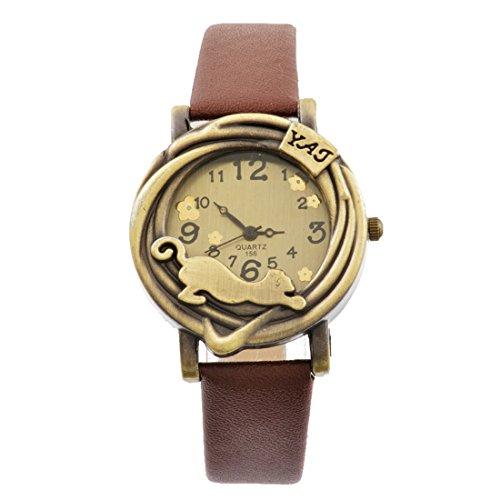 Souarts Womens Brown Artificial Leather Band Cat Pattern Dial Quartz Analog Wrist Watch 24cm