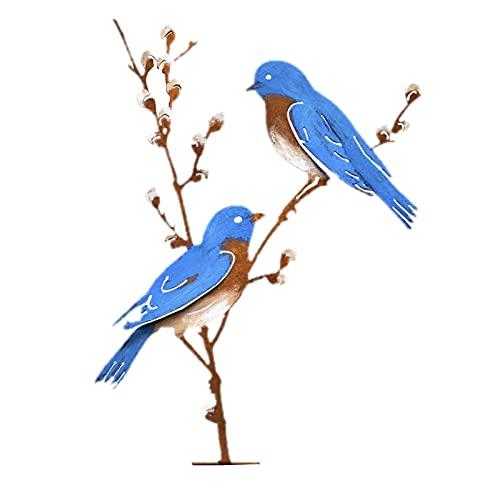 SHINEHUA Baumstecker Glücksvogel Buchfink Vögel Metall Tier Silhouette Pfahl, Kunst Dekorative Garten Metalkunst, Gartendeko für den Baum, Gartenstecker Vögel im Baum Garten Dekoration