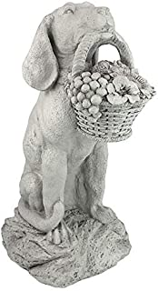 Design Toscano EU1379 Man's Best Friend Dog with Basket Outdoor Garden Statue, 19 Inch, Two Tone Stone