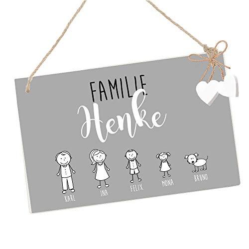 Türschild mit Namen der Familie, aus Holz gefertigt - Eingangsschild für die Haustür mit personalisierten Figuren, Schild in Grau und Weiß handgefertigt
