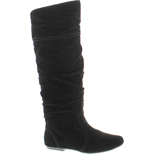 Product Image of the Qupid Women's Neo144 Leatherette Basic Slouchy Knee High Flat Boot,Black,6