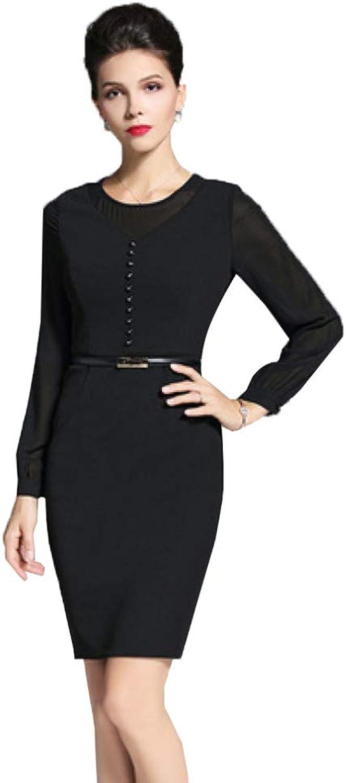 CVCCV Summer and Autumn Women's New Black Lace Waist LongSleeved Knit Dress Ol Step Skirt