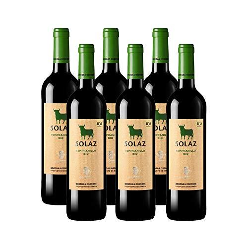 Vino tinto Solaz Tempranillo Bio de 75 cl - D.O. Tierra de Castilla - Bodegas Osborne (Pack de 6 botellas)
