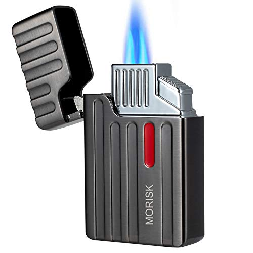 Torch Cigar Lighter, Dual Jet Flame Butane Refillable Lighter with Cigar Punch for Tobacco Pipe & Cigarette, Cool Pocket Lighters with Push-Button Piezo Ignition Adjustable Flame Insert