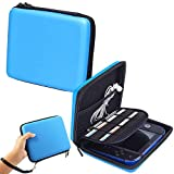 Storage Organizer Carrying Case Compatible for Nintendo 2DS - Pinowu Storage Pouch Bag Case with Double Zipper and 8 Game Holders Compatible Nintendo 2DS (Blue)