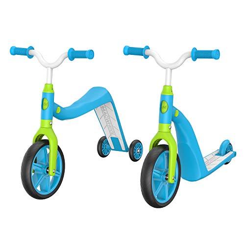 Macwheel MK2 Kleinkindroller, 4 in 1 Balance Trike & Trainingsrad, Tretroller für Kinder im Alter von 2-5 Jahren (blau)