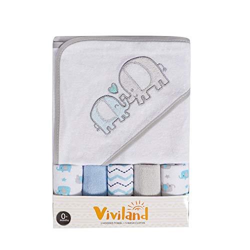 Toalla y toallitas de baño con capucha Viviland Baby, gran regalo para bebés y recién nacidos, tacto suave y absorción fuerte, paquete de 6