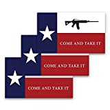 3x5 Texas Come and Take It Flag Sticker 3-Pack Made with Durable Waterproof Materials Texas Flag Come and Take It Bumper Sticker Texas Rifle Sticker Come and Take it Gadsden Flag Texas Flag Come and Take It Decal Texas Rifle Decal