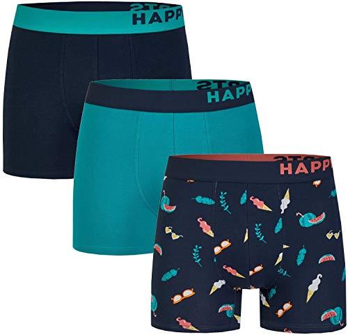 Happy Shorts 3 Stück Jersey Trunk Herren Boxershorts Pants Boxer witzige Designs Mode Summer Feeling, Grösse:L, Präzise Farbe:Summer Feeling