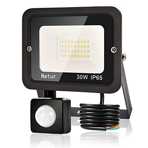30W Foco LED Exterior con Sensor Movimiento, bapro Proyector LED Exterior 3000LM Floodlight Impermeable IP65 Blanco Frío 6000K, Alto Brillo Iluminacion Exterior para Jardín, Garaje, Fábrica, Almacén