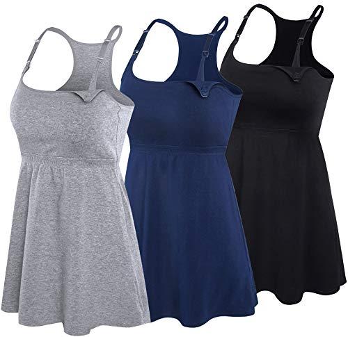 SUIEK Damen 3pack schulterfrei Nursing Tank Tops cami Schwangerschafts-BH stillen Schlaf-Hemd mittel schwarz + Marine + grau 3pack