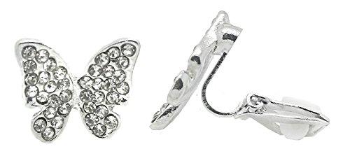 Orecchini argentati a clip, con strass, per orecchie non forate, con zirconia cubica, da donna, a forma di farfalla