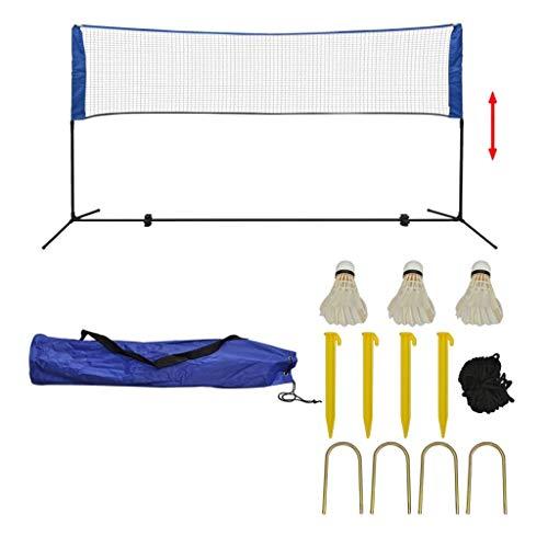 vidaXL Badmintonnetz mit Tasche 3 Bälle Höhenverstellbarer Rahmen Federballnetz Volleyballnetz Badminton Set Tennisnetz Netz Federball 300x155cm