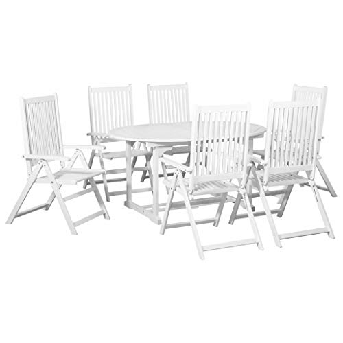 Tidyard 7-TLG. Outdoor-Essgarnitur Weiß mit ausziehbarem Tisch Holz 7-Piece Outdoor Dining Set with Extendable Table with 6 Garden Chairs 1 Table and 6 Folding Chairs