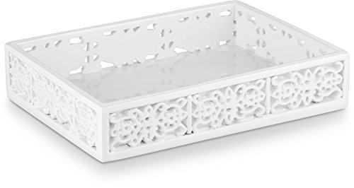 "DWELLZA Mirror Janette Soap Dish for Bathroom (5.2"" x 3.75"" x 1.2"") - Decorative Dry Bar Holder- Durable Resin Design- Best Dishes for Sink Bath Shower Bathtub Décor (White)"