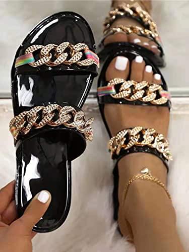 XLBHSH Sandalias para Mujeres Sandalias de Playa de Verano Casual Cómodo Zapatos Romanos Crystal Plus Tamaño Estilo Tanga Slippers Slippers,41