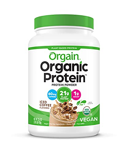 Orgain Organic Plant Based Protein Powder, Iced Coffee - 60mg of Caffeine, Vegan, Low Net Carbs, Non Dairy, Gluten Free, No Sugar Added, Soy Free, Kosher, Non-GMO, 2.03 Lb (Packaging May Vary)