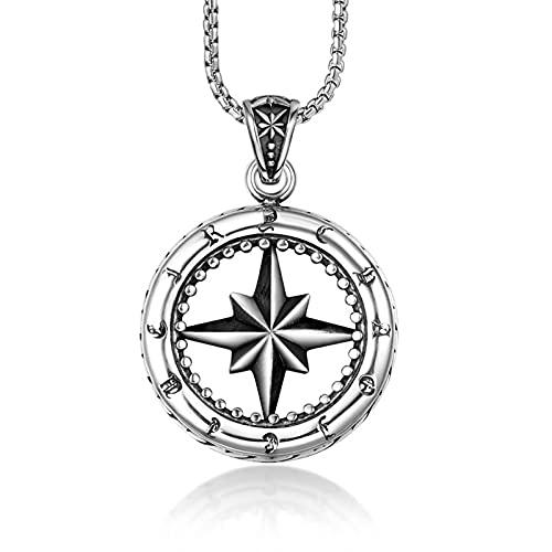 MINGDIAN Collar de Acero de Titanio con Colgante de Rueda de Flor de Porcelana de Estrella de Ocho Puntas con joyería Simple