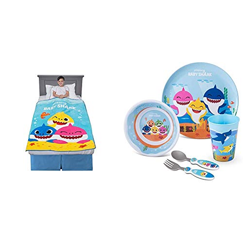 "Franco Kids Bedding Super Soft Plush Throw, 46"" x 60"", Baby Shark & Kids Dinnerware Cartoon Designed Mealtime Kitchen Set, 5 Piece Pack, Baby Shark"