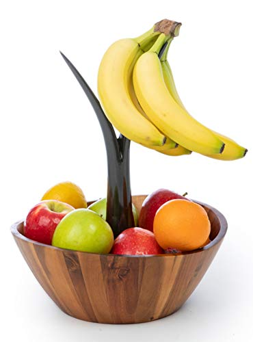 Casa Bellante Acacia Wooden Fruit Bowl with Banana Hanger