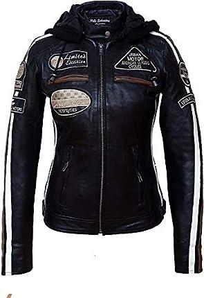 Urban Leather UR-154 Chaqueta Moto Mujer de Cuero '58 LADIES', Armadura Removible para Espalda, Hombros y Codos Aprobada por la CE, Negro, L