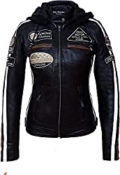 Damen Motorradjacke mit Protektoren, Schwarz, Große : L