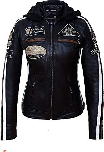 Damen Motorradjacke mit Protektoren, Schwarz, Große : 5XL