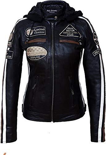 Urban Leather Damen Motorradjacke mit Protektoren, Schwarz, L