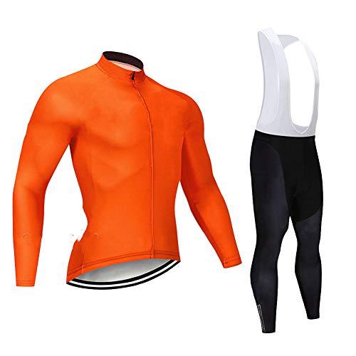 Ropa Ciclismo Otoño/Primavera para Hombre y Mujer - Ciclismo Maillot MTB de Manga Larga Traje de Ciclismo de Manga Larga, de Secado rápido y Transpirable(s-3xl),Orange 1,Medium