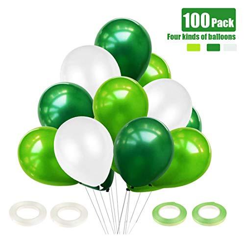 O-Kinee Luftballons Grün Weiß Helium, 100 Stück Grüne Ballons, Dschungel Deko, Jungen Kinder Geburtstag Party Dekoration, Kindergeburtstag Kinderzimmer Kindergarten Deko, Dinosaurier Party Deko