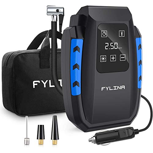 FYLINA AU01004 Updated Touch Screen Inflator, 12V 150PSI Digital Compressor Tyre Pump with 35L/Min Larger Air Flow, 3 Nozzle Adaptors, Bright Light and Large HD LED Display