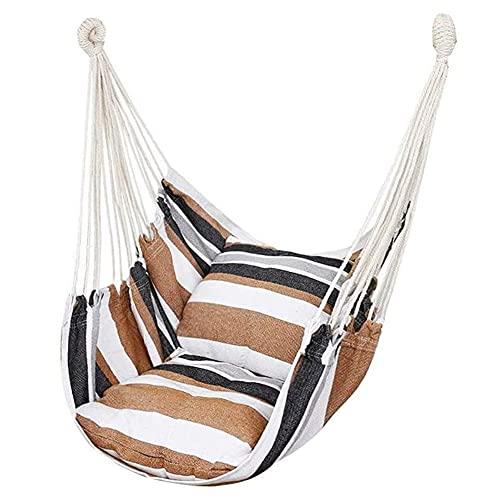 Sedia amaca, max 300 libbre sedia a dondolo amaca con 2 cuscini, sedia a dondolo amaca per esterno, patio, veranda, camera da letto, cortile, 100 x 130 cm (senza barra di legno), marrone