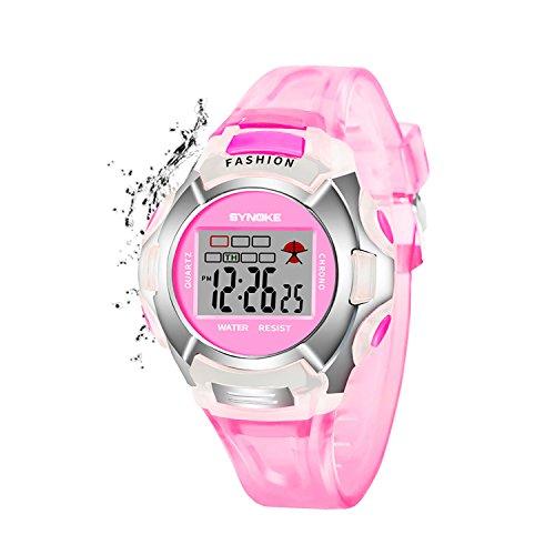 Girls Digital Watch,Kids Sport Waterproof Outdoor Watches with Alarm, Stopwatch Children LED Electronic Wristwatch for Kids Girls (Pink)
