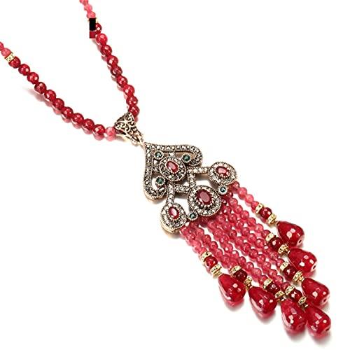 QNONAQ Joyería Vintage Collar Colgante de la tasela Larga de Piedra Natural de Lujo para Las Mujeres antigüedades del Oro del Oro de la Vendimia de la joyería Nupcial étnica de Cristal Rojo