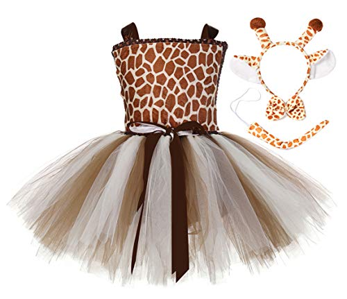 Tutu Dreams Brown Giraffe Costume Toddler Girls Animal Tutu Outfits Birthday Fancy Princess Dress (Giraffe, 3-4T)