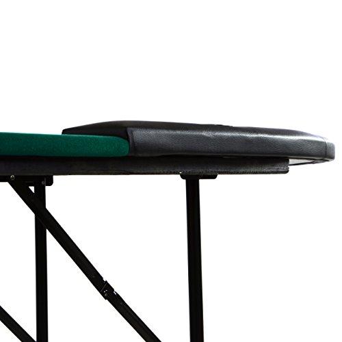 Nexos Deluxe Casino Pokertisch klappbar L 215 x B 113 x H 79 cm, Getränkehalter Armlehnen Chiptray grüne Pokerauflage Klapptisch für 10 Spieler - 5