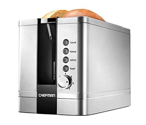 Chefman 2-slice, Pop-up, Stainless Steel Toaster w, 7 Shade Settings,...