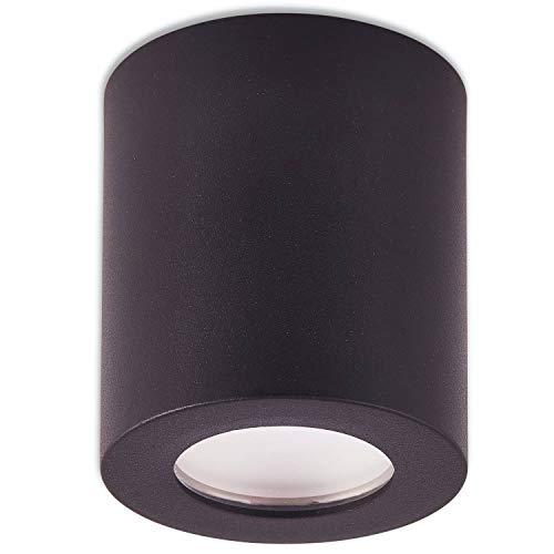 Trano LED Aufbaustrahler IP44 Bad Außen schwarz kaltweiß 9 Watt – Deckenstrahler für Trocken- und Feuchträume als Deckenleuchte – Deckenspot Aufbauleuchte Spot GU10 230V neu