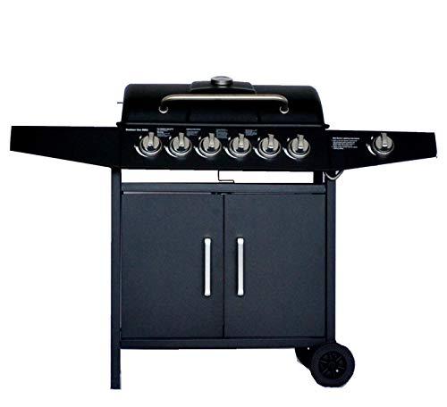 Grill Barbecue a Gas,Compatto con 6+1 Bruciatore,BBQ Gas per Pietre Laviche,con Fornello Laterale, Controlli della Temperatura Indipendenti, Grande area barbecue