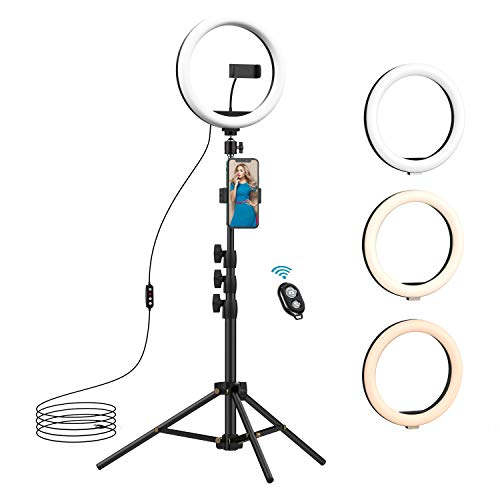 10.2 inch Selfie Ring Light with Tripod Stand & 2 Phone Holders, Anbes Dimmable Led Camera Ringlight for Photography/Makeup/Live Stream Video/YouTube, Compatible with iPhone/Android