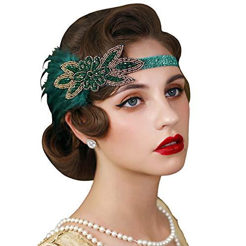 SWEETV Serre-tête à plumes années 1920, années 20, accessoire de cheveux Gatsby pour femme, vert foncé