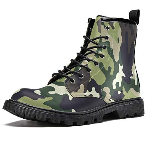 Lorvies Camouflage Multicam Stiefel für Herren, Schnürschuhe aus Leder, - mehrfarbig - Größe: 44.5 EU