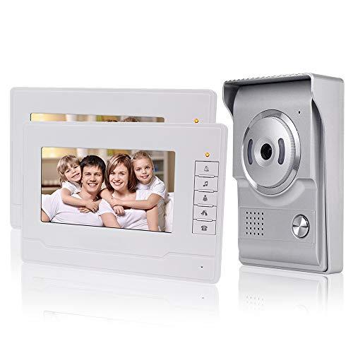 KDL Nuevo Diseño Sistema de Intercomunicación de Video Inteligente el Hogar Timbre de video de 7 pulgadas puerta teléfono, Cámara impermeable al aire libre con monitor para el hogar (2 Monitor)