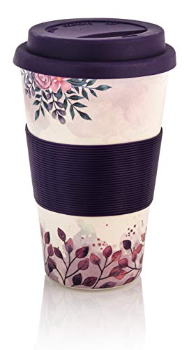 Premium Bambus Kaffeebecher to go | 400ml | Coffee to go Becher mit Deckel und Silikonmanschette | spülmaschinenfest | BPA frei | wiederverwendbar | umweltfreundlich & recyclebar (Blume/Lila)